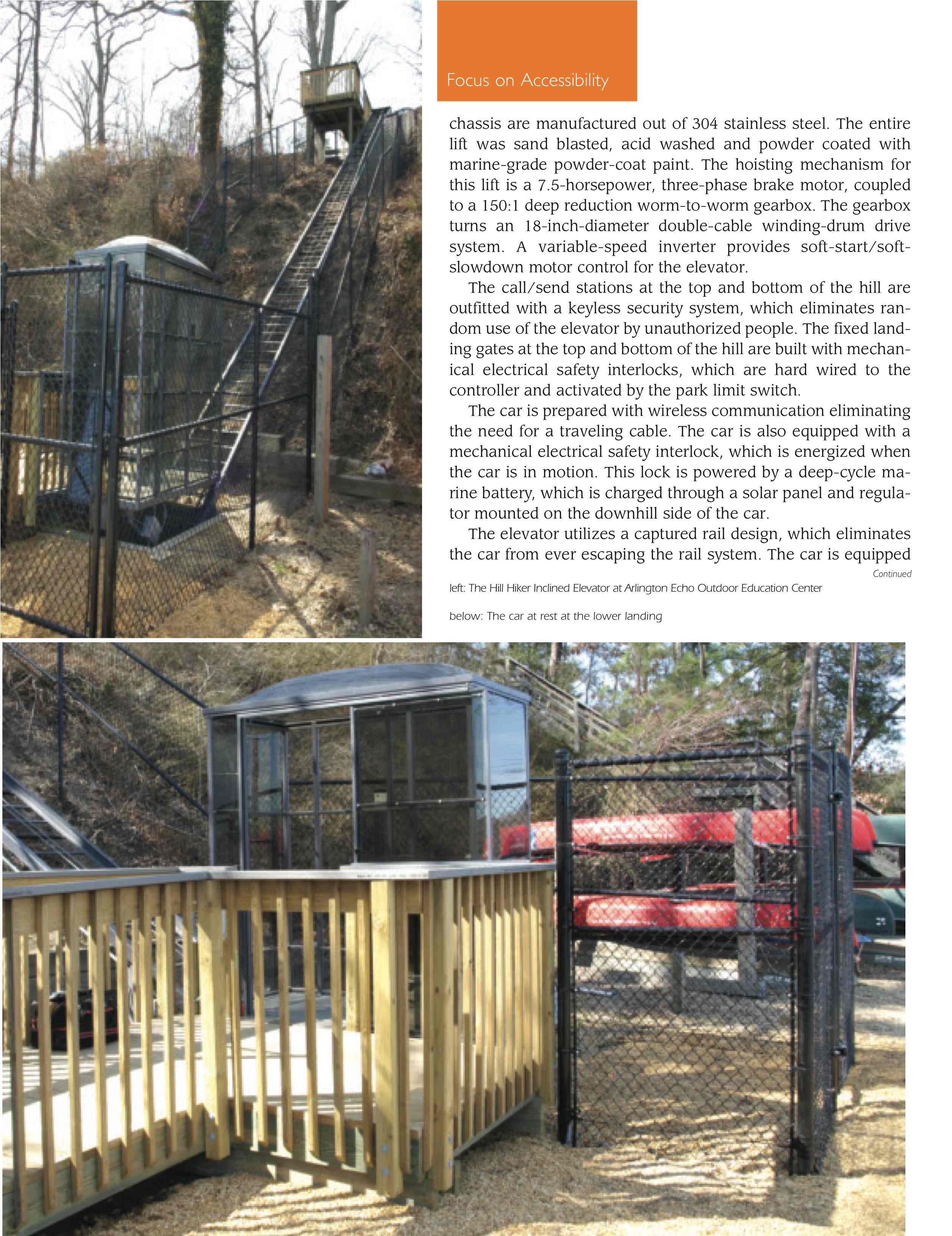 Maryland ADA Handicap Outdoor Education Center Article Page from Elevator World Magazine