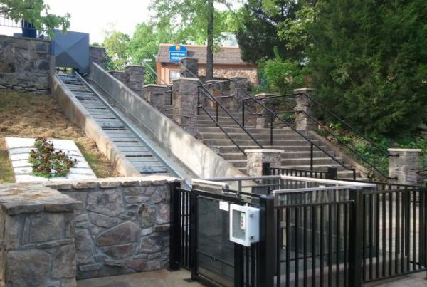 ADA compliant handicap access funicular lift at a state park Arkansas