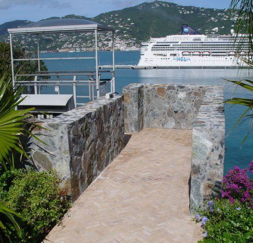 International Caribbean ocean access funicular tram with exotic views and cruise ships in the bay in St. Thomas US Virgin Islands