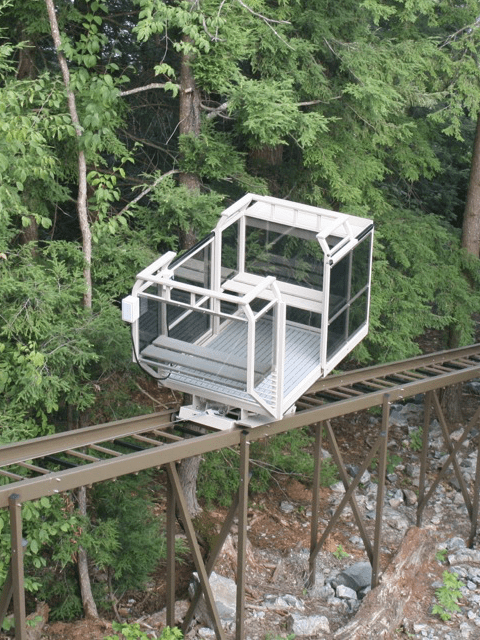 Hill Hiker funicular tram system with double door cart and custom two color paint finish