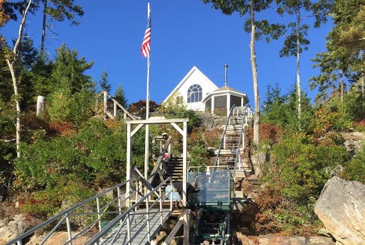 Stairs Mastered on Maine Island Hillside