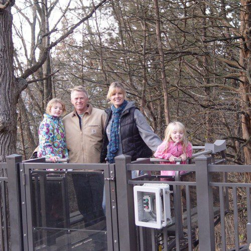 Happy family on there incline tram at upper landing in Autumn time on the St. Croix River