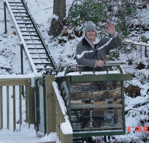 Hill Hiker® Hillside lift operating flawlessly in winter conditions with snow on the ground
